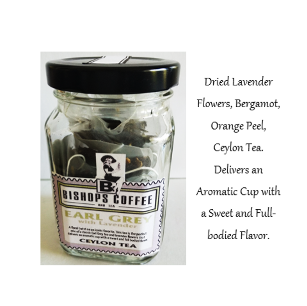 Earl Grey Lavender 8 Pyramid Bags in Glass Jar
